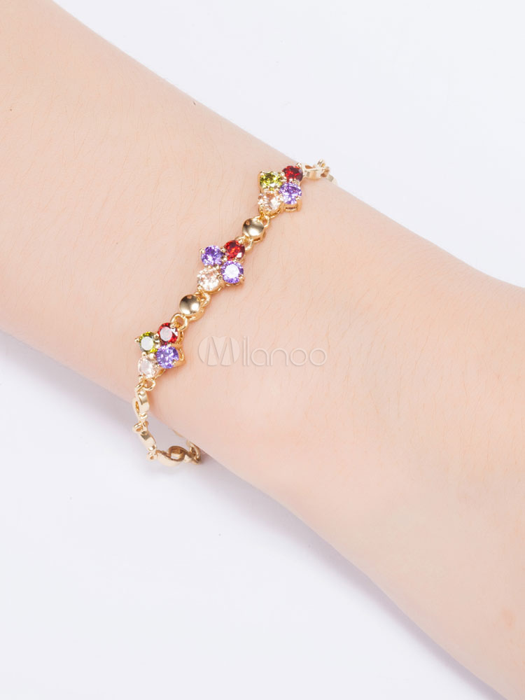 Buy Women's Charm Bracelet Luxurious Flower Design Cubic Zirconia Party Rings for $5.94 in Milanoo store