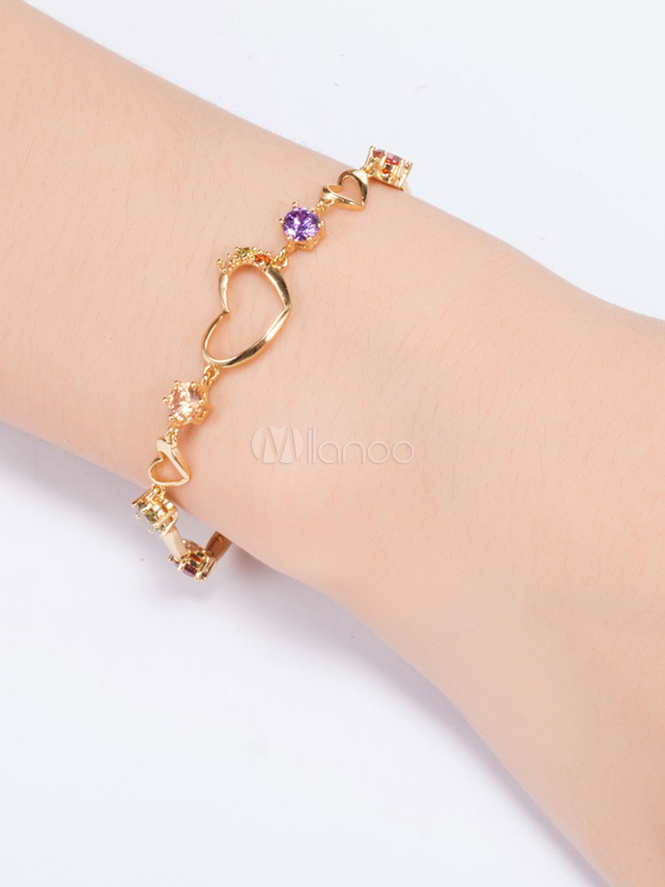 Buy Golden Charm Bracelet Sweetheart Hollow Out Copper Party Bracelet for $5.94 in Milanoo store