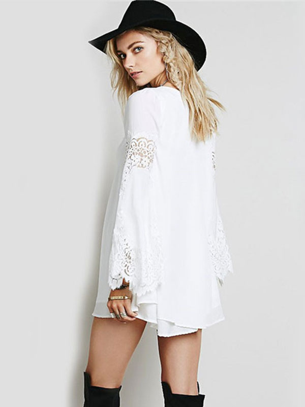 Vestido manga larga color blanco