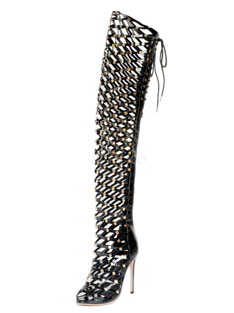 Black Sexy Boots Over Knee High Heel Women's Peep Toe Rivets Cut Out Thigh High Boots
