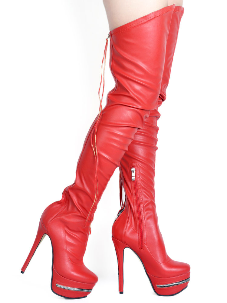 Red Sexy Boots Over Knee Women's Platform Round Toe Zip Up Thigh High Boots