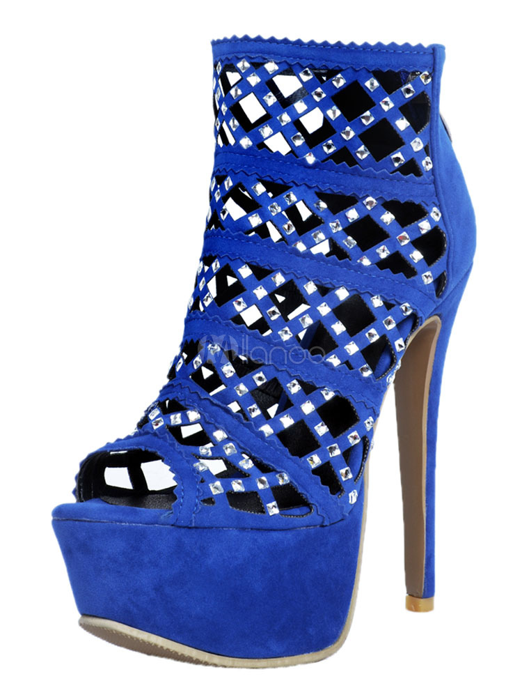 Buy Blue Sexy Shoes High Heel Platform Peep Toe Rhinestones Cut Out Sandal Ankle Boots for $76.49 in Milanoo store