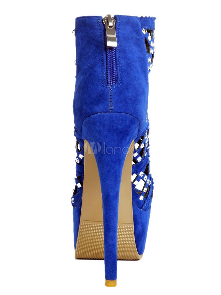 Blue Sexy Shoes High Heel Platform Peep Toe Rhinestones