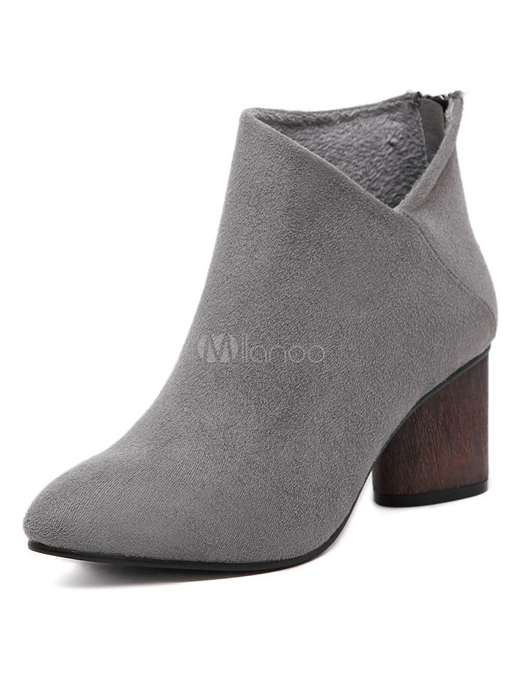 Buy Grey Ankle Boots Chunky Heel Round Toe Terry Women's Booties for $29.99 in Milanoo store