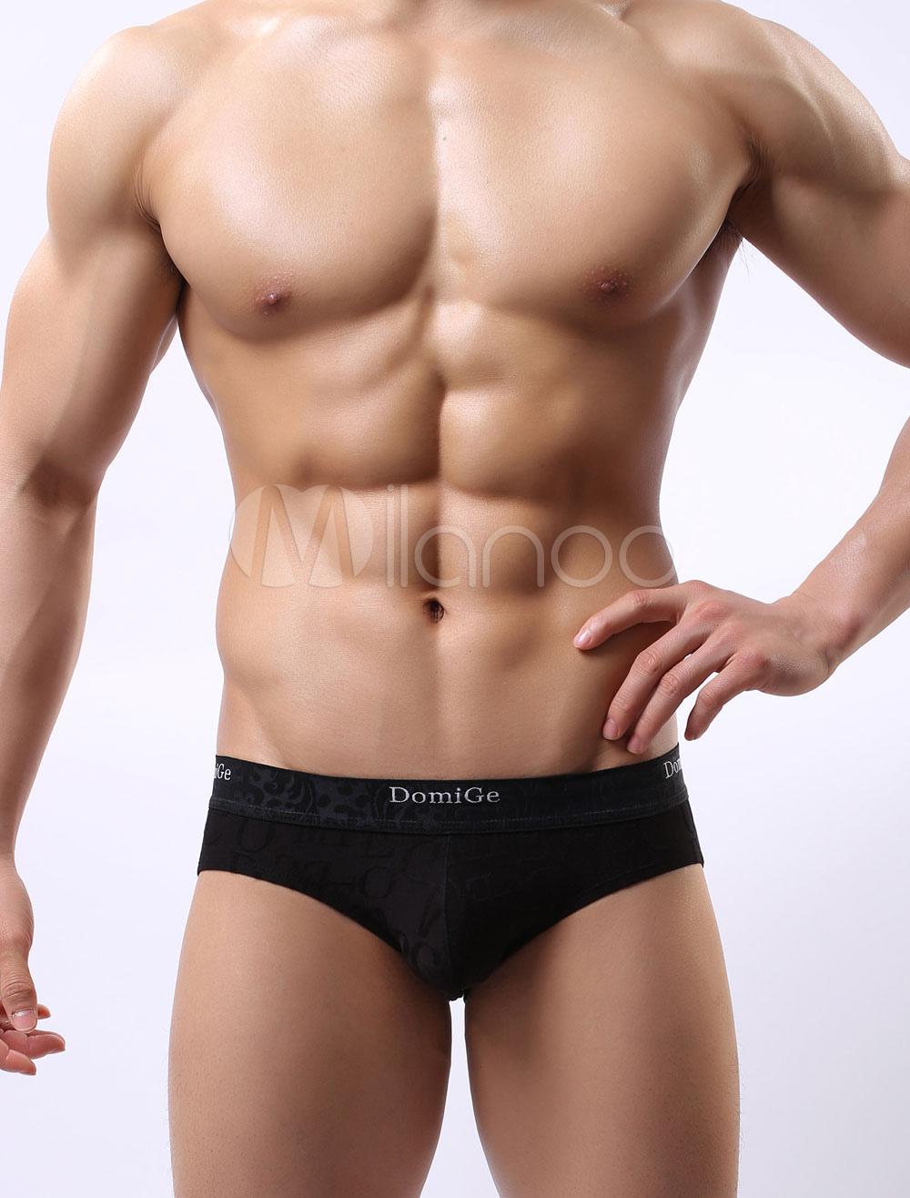 Black Men's Panties Printed Lycra Spandex Casual Briefs