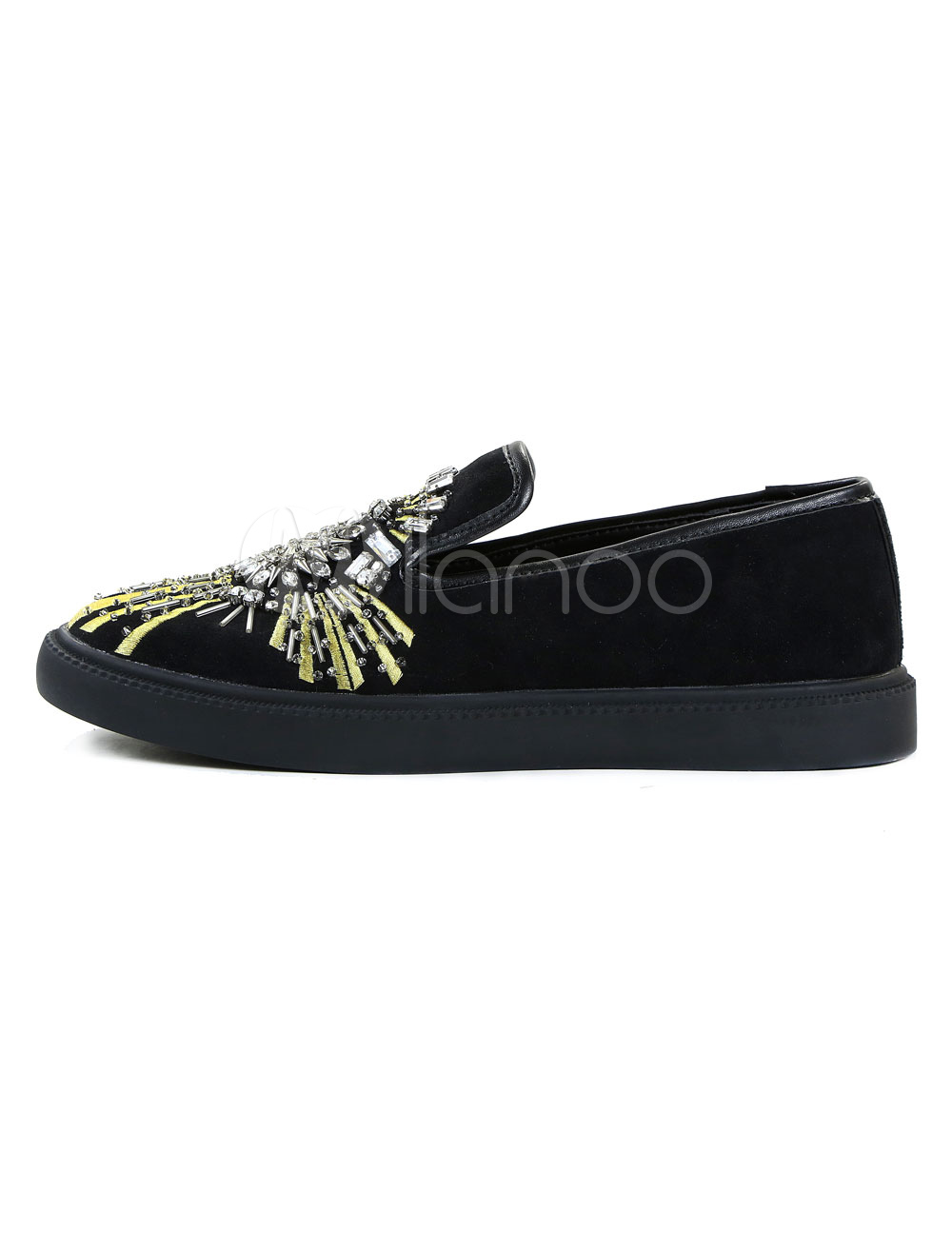 d6d8ab9c344f1 Men s Black Loafers Suede Round Toe Rhinestones Slip On Flat Shoes ...
