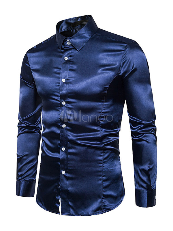 Dark Navy Shirt Long Sleeve Turndown Collar Casual Shirts For Men
