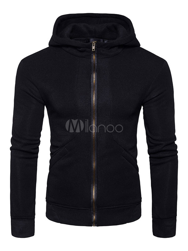 Black Pullover Hoodie Hooded Long Sleeve Zip Up Men's Sweatshirt
