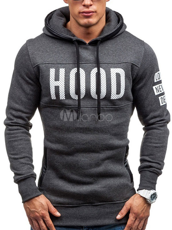 Deep Grey Hoodie Hooded Long Sleeve Letters Print Regular Fit Men's Casual Sweatshirt