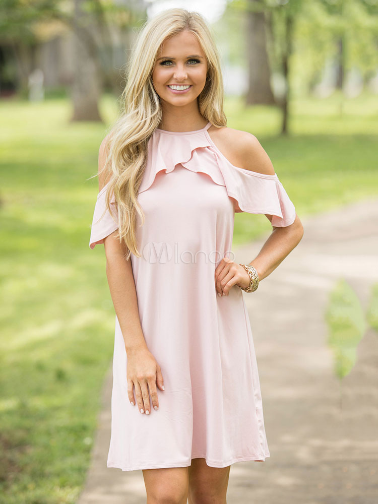 Buy Pink Shift Dress Straps Short Sleeve Ruffles Cold Shoulder Women's Short Dresses for $28.49 in Milanoo store