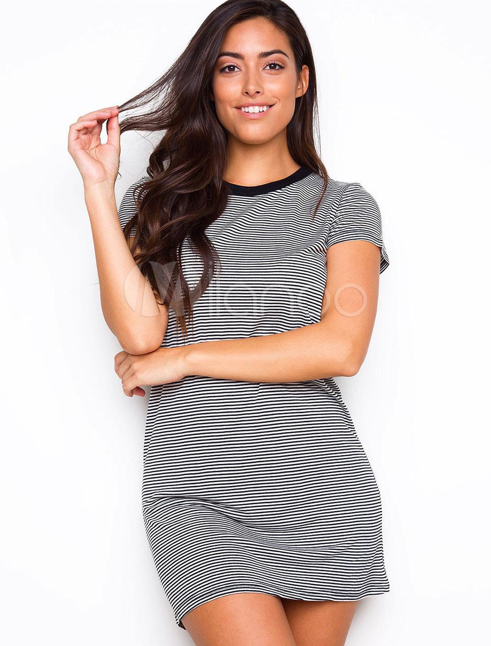 Buy T Shirt Dress Black Round Neck Short Sleeve Striped Women's Short Dresses for $23.74 in Milanoo store