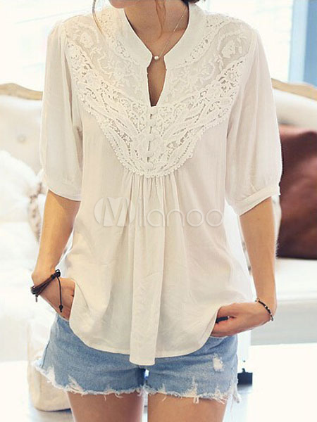 White Casual Blouses Lace V Neck Half Sleeve Chiffon Pleated Women's Top