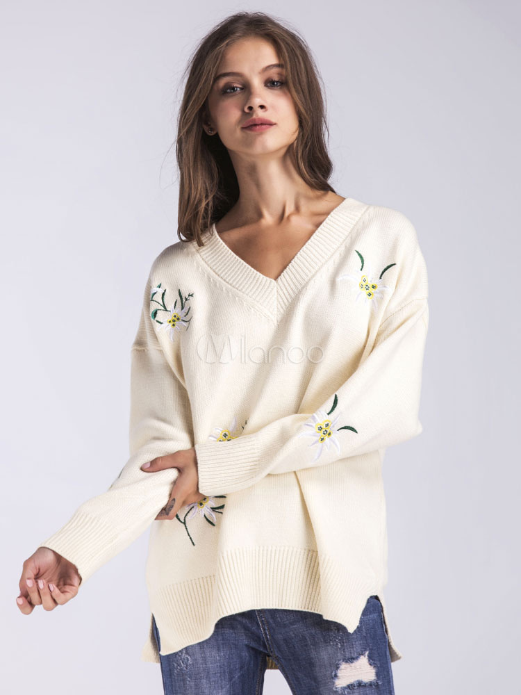 Buy Oversized Pullover Sweater Floral Embroidered V Neck Slit Knitwear For Women for $37.99 in Milanoo store