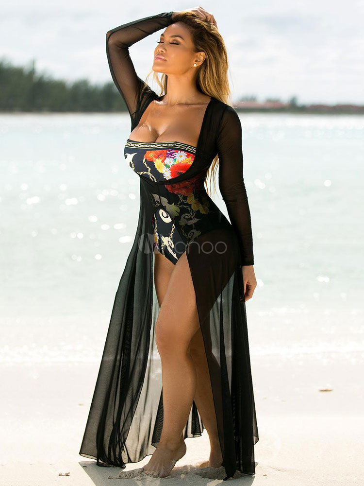 Buy Black Cover Ups Plunging Neck Long Sleeve Split Tulle Shaping Women's Beachwear for $24.99 in Milanoo store