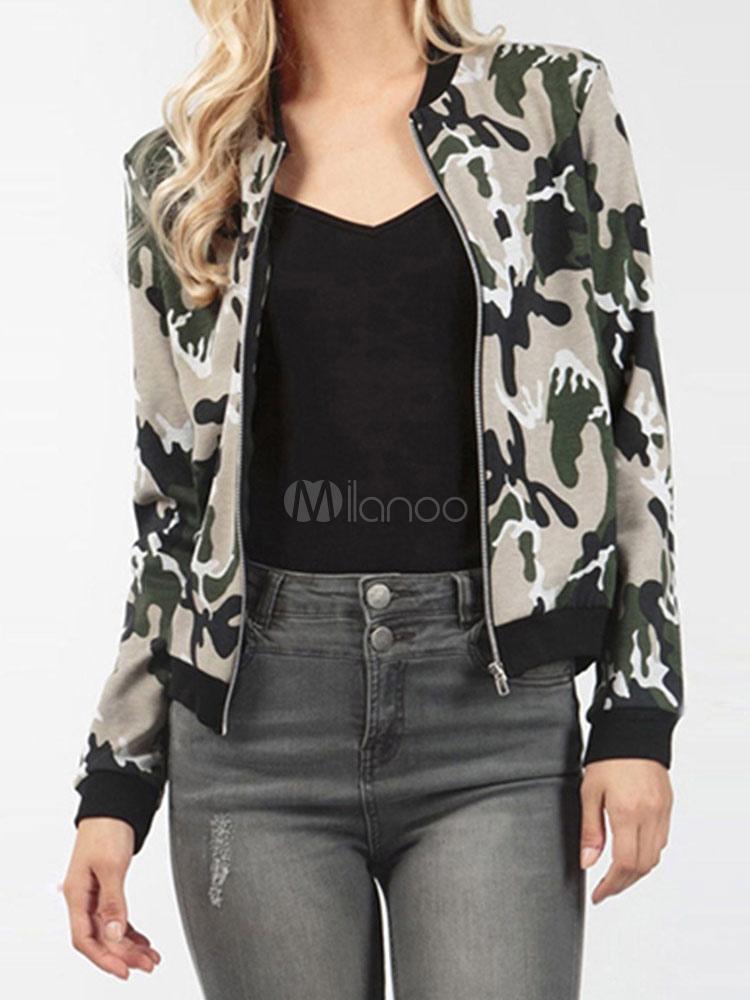 Buy Camo Bomber Jacket Crewneck Long Sleeve Women's Short Jackets for $23.74 in Milanoo store