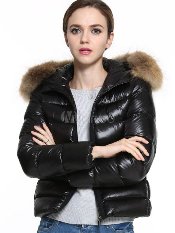 Black Padded Jacket Hooded Faux Fur Long Sleeve Two Tone Women's Quilted Jackets Cheap clothes, free shipping worldwide
