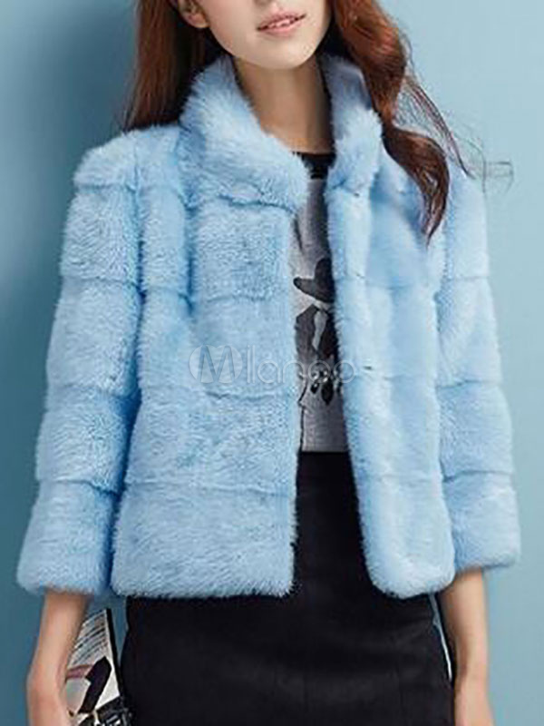 498e3a79f292 Faux Fur Coat Women Blue Long Sleeve Stand Collar Short Coats For Winter  -No.