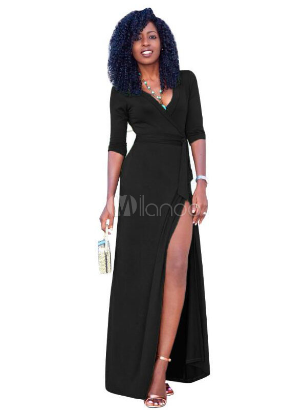280ab848d59d4 Black Maxi Dress Long Sleeve V Neck Split Wrap Dresses For Women-No.1 ...