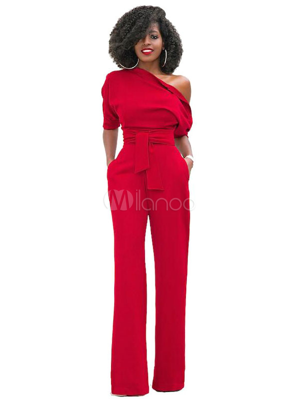 Red Women's Jumpsuit One Shoulder Short Sleeve Asymmetrical Straight Leg Long Jumpsuits
