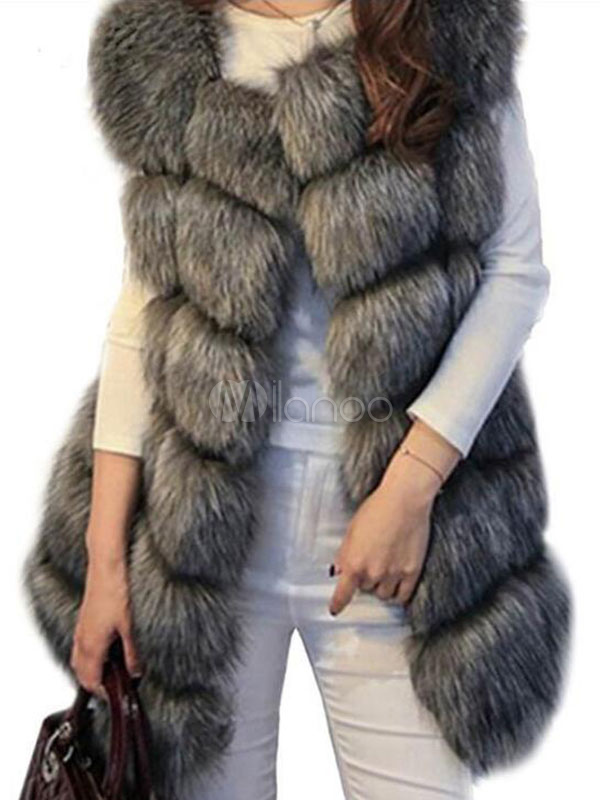 Buy Faux Fur Vest Women'S Sleeveless Grey Faux Fur Coat for $40.79 in Milanoo store