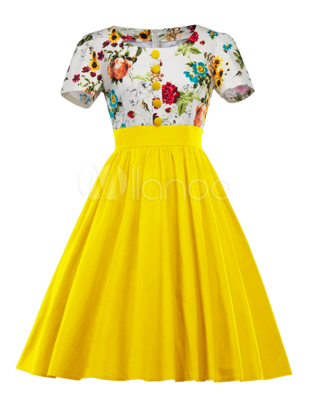Yellow Vintage Dress Floral Print Round Neck Short Sleeve Buttons Draped Pleated A Line Dress