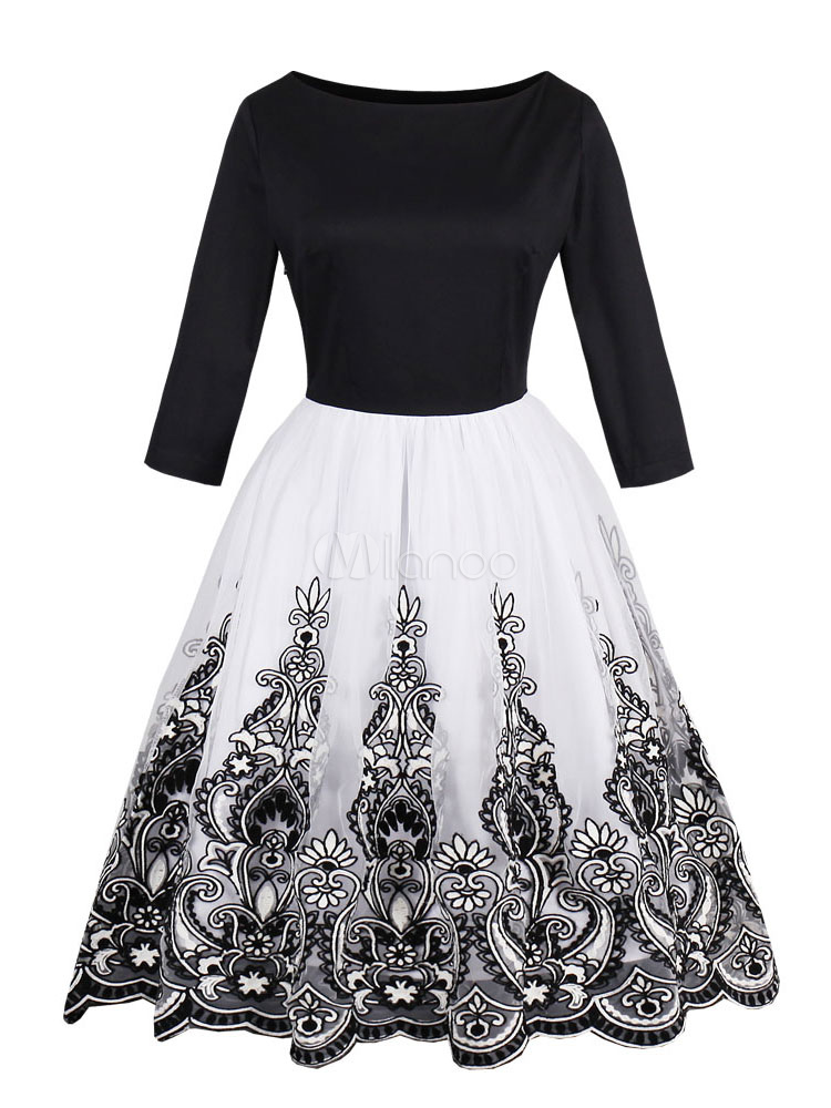 Women Vintage Dresses 1950s Swing Dress Long Sleeve Round Neck Embroidered Two Tone Retro Dress