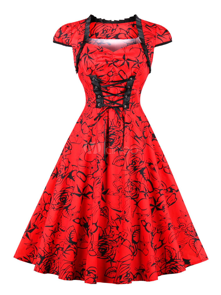 Buy Red Vintage Dresses Floral 1950s Rockabilly Dresses Short Sleeve Lace Up Swing Dress For Women for $21.99 in Milanoo store