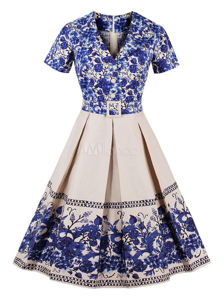 Buy Blue Vintage Dresses V Neck Short Sleeve Floral Print Pleated Midi Dress For Women for $26.99 in Milanoo store