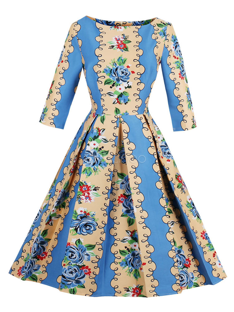 Buy Blue Vintage Dresses Round Neck Long Sleeve Floral Print Pleated A Line Midi Dresses For Women for $26.99 in Milanoo store