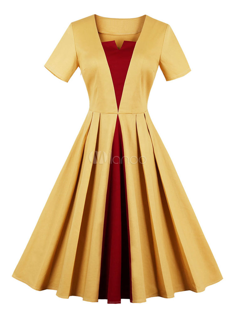 Buy Women Vintage Dress 1950s Notched Neckline Short Sleeve Color Block Beige Swing Dress for $26.99 in Milanoo store