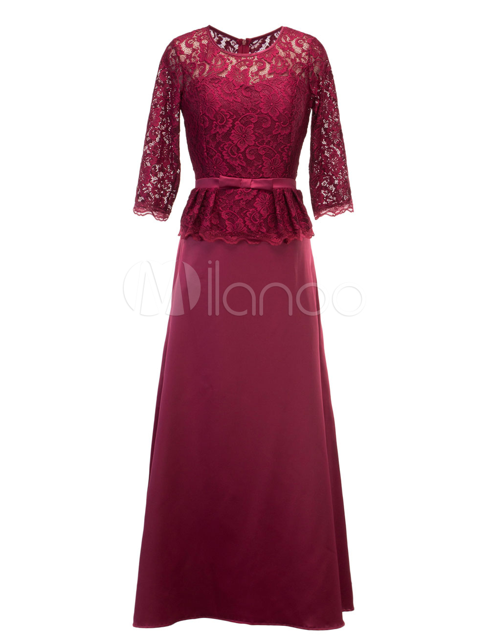 Buy Lace Maxi Dress Round Neck Half Sleeve Bow Decor Peplum Women's Rose Red Long Dress for $37.99 in Milanoo store
