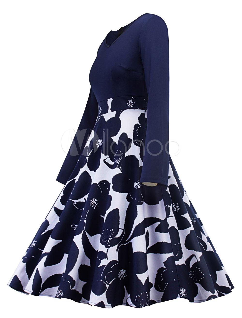 b2b6088bcb0c ... Women Vintage Dress 1950s Floral Swing Dresses Long Sleeve Navy Spring  Dress-No.2 ...