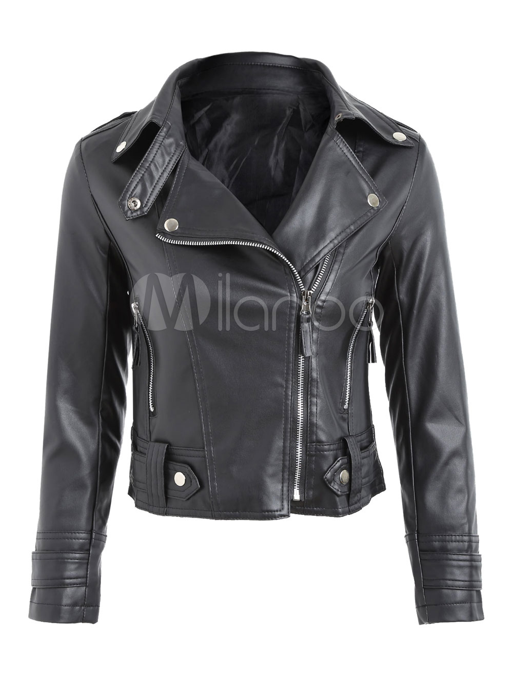 Buy Black Leather Jacket Long Sleeve Turndown Collar PU Moto Jackets For Women for $33.24 in Milanoo store