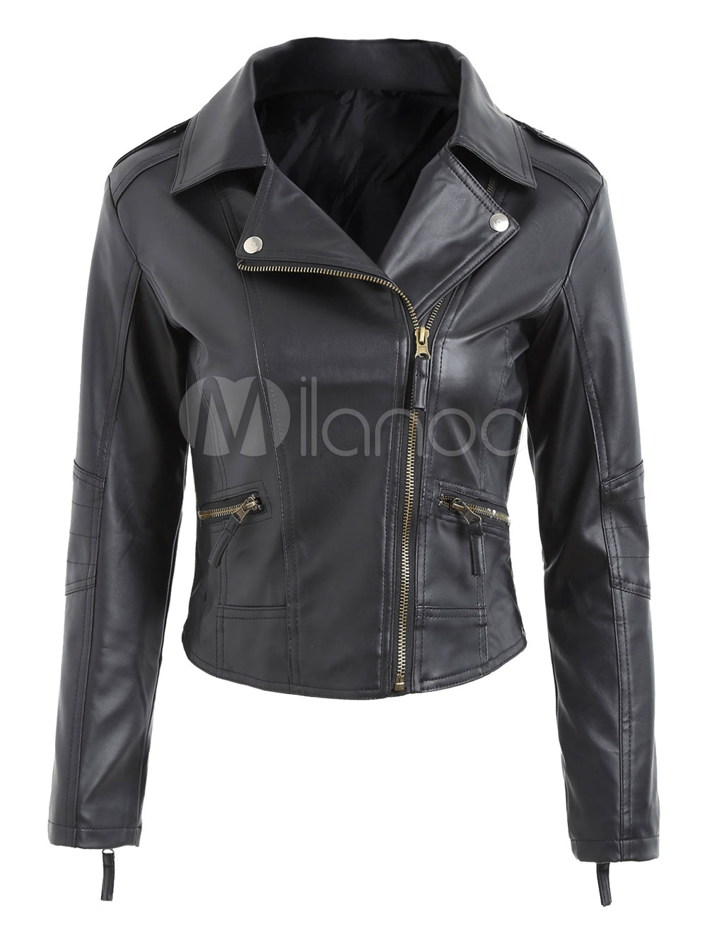 Buy Black Moto Jacket Long Sleeve Turndown Collar PU Leather Jackets For Women for $28.49 in Milanoo store