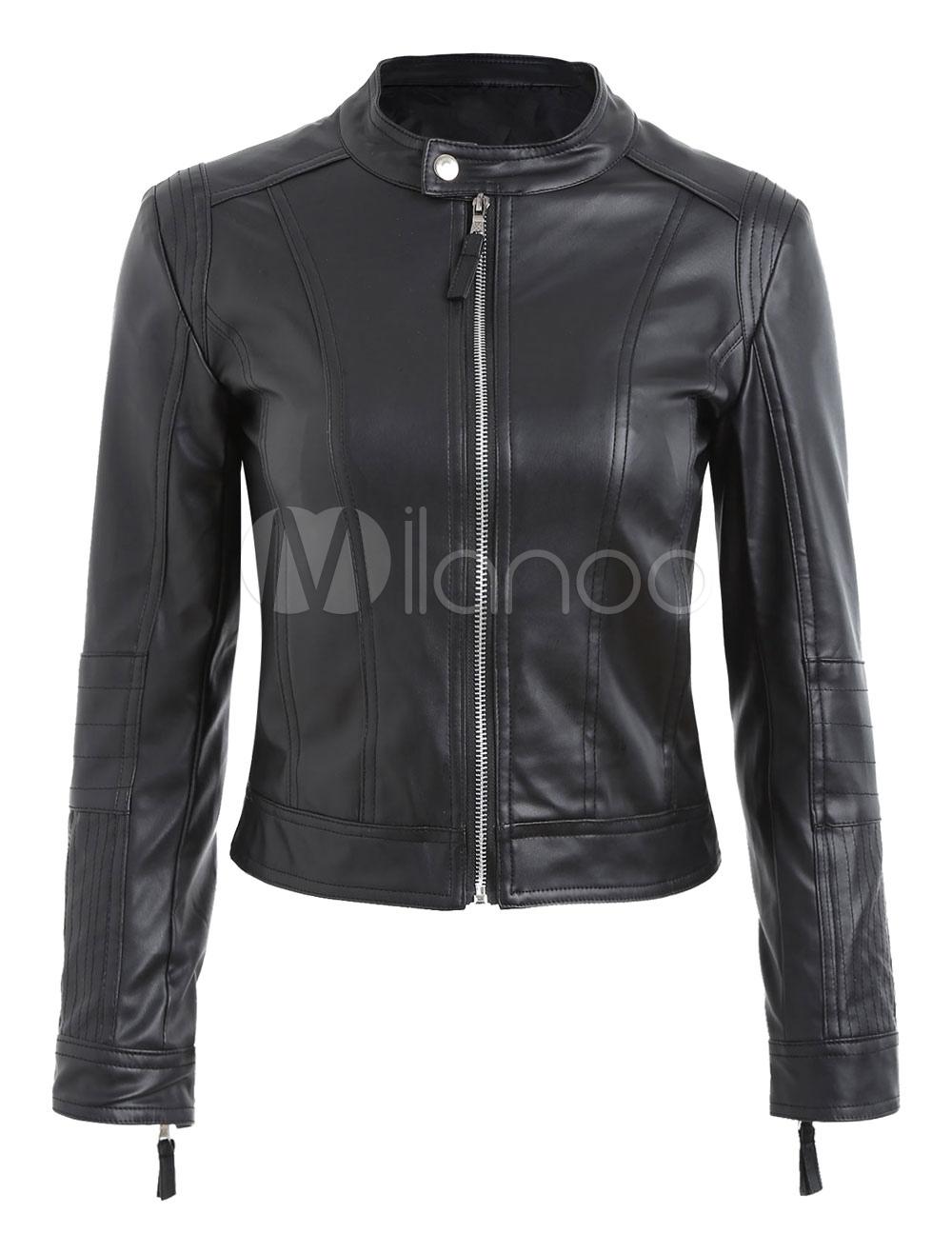 Black Moto Jacket Long Sleeve Crewneck Boyfriend Women's PU Leather Jackets