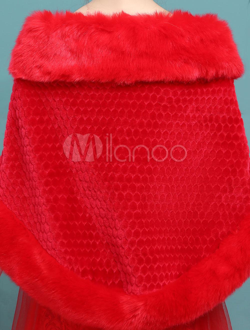 Bolero Rouge Mariage intérieur boléro fête de mariage en angora rouge - milanoo