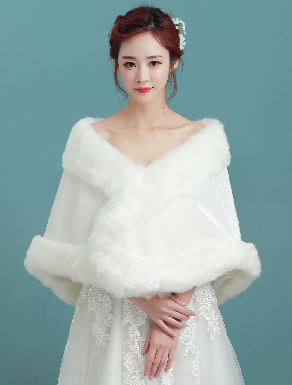 Buy Faux Fur Stole Wedding Angora Bridal Ivory Winter Wrap for $22.49 in Milanoo store