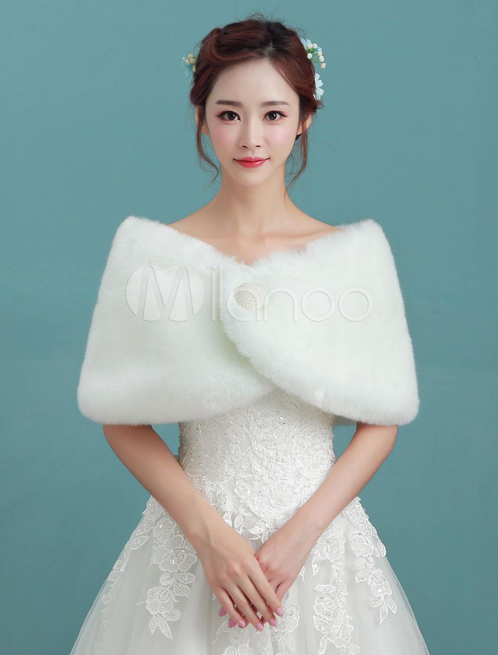 Ivory Wedding Wrap Bridal Winter Faux Fur Stole