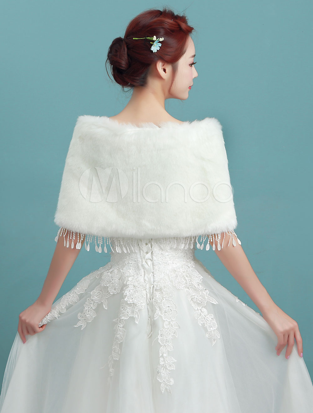 Winter Wedding Shawl Faux Fur Lace Tassels Wrap Ivory Bridal Jacket ...