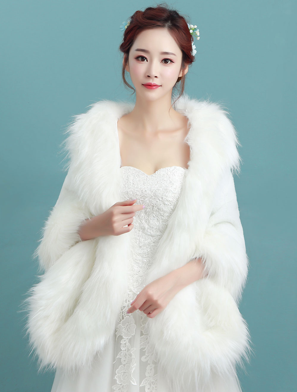 Faux Fur Stole Ivory Wedding Long Bridal Winter Wrap