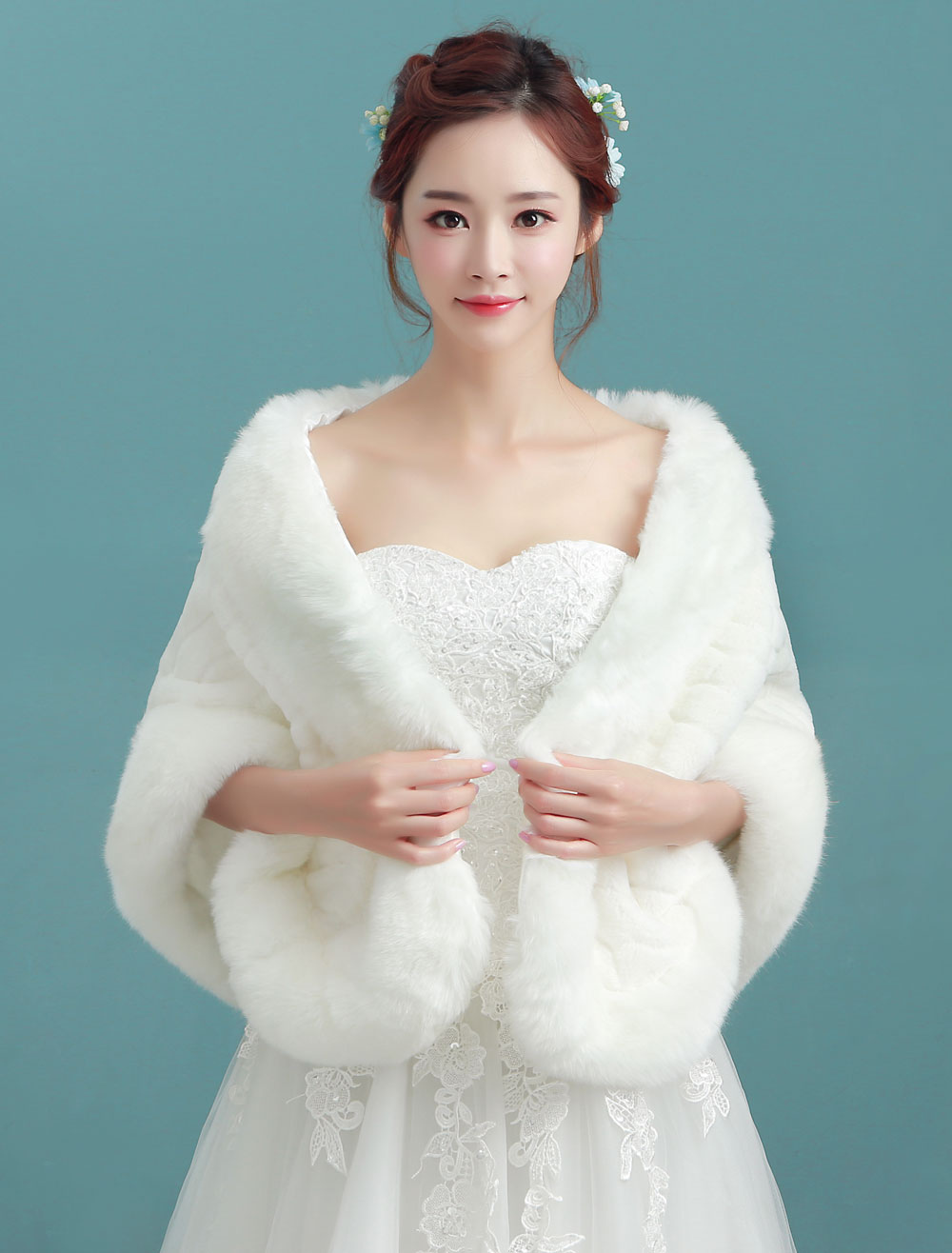 Buy Ivory Wedding Shawl Faux Fur Bridal Winter Wrap for $22.49 in Milanoo store