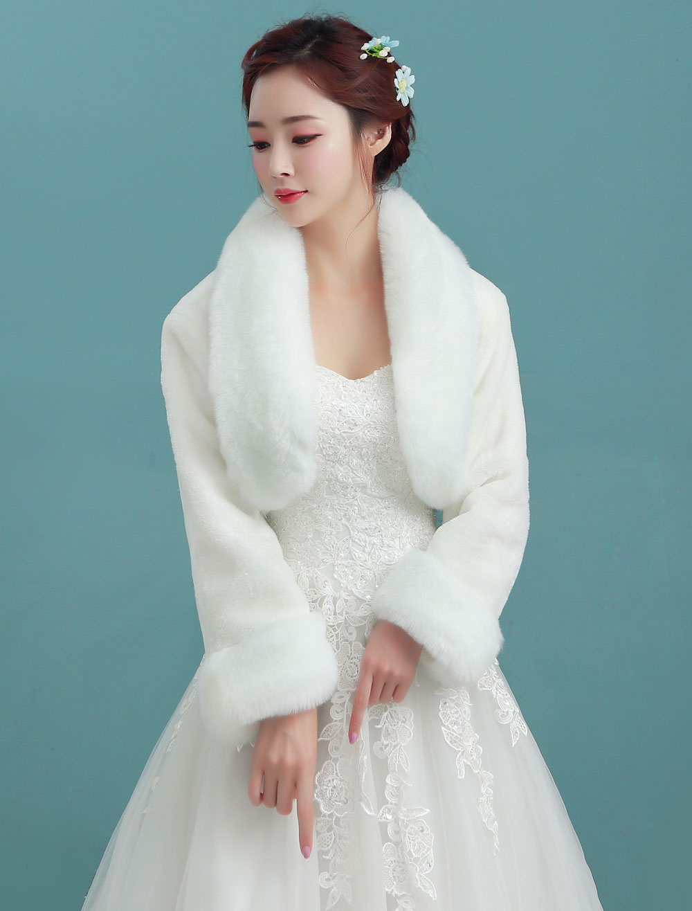 Wedding Bolero Jacket Ivory Collar Long Sleeve Faux Fur Bridal Winter Shawl