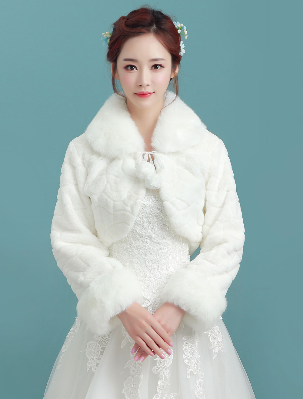 Buy Wedding Bolero Jacket Ivory Turndown Collar Long Sleeve Bridal Winter Faux Fur Stole With Pom Poms for $18.89 in Milanoo store