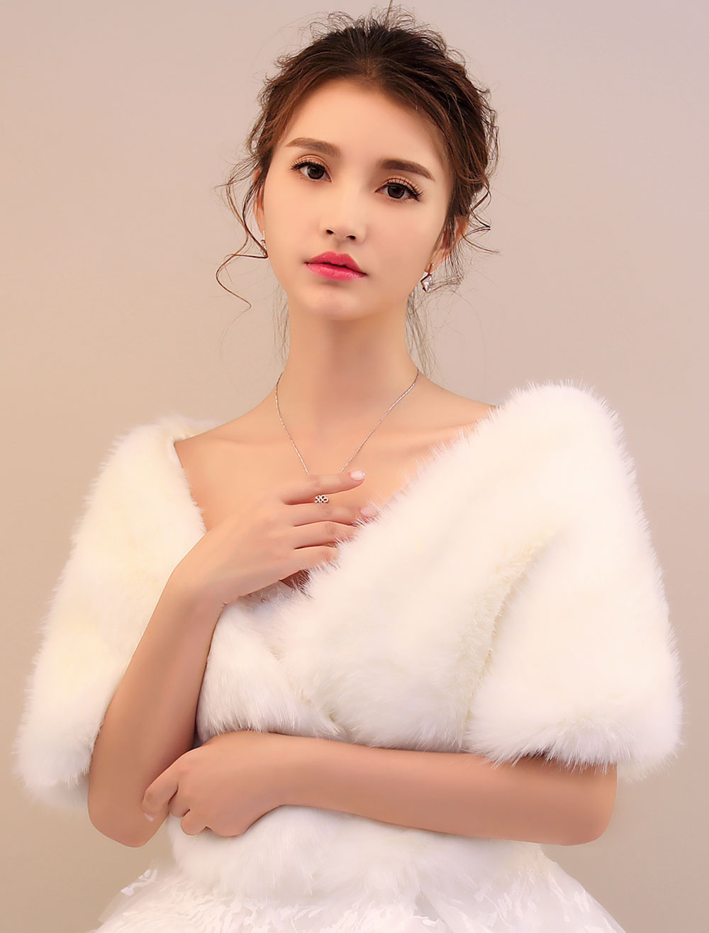 Buy Winter Wedding Shawl Ivory Faux Fur Bridal Wrap for $24.99 in Milanoo store