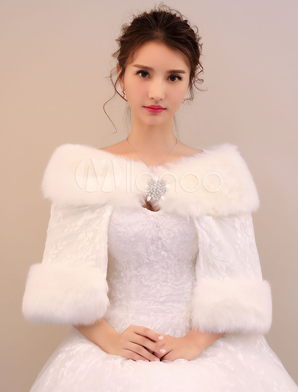 Buy Faux Fur Stole Bridal Faux Fur Winter Ivory Wedding Wrap for $29.99 in Milanoo store