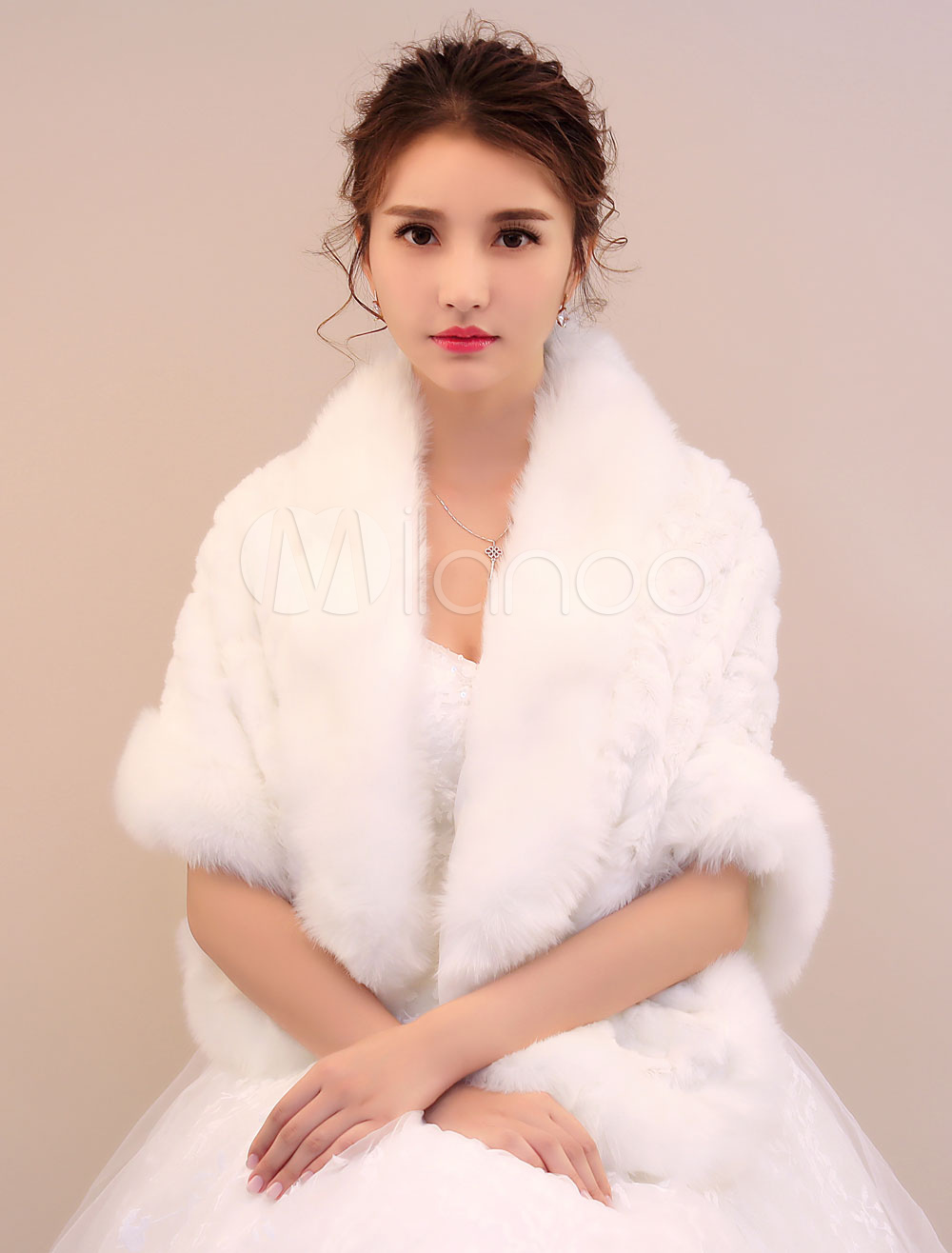 Buy Winter Wedding Wrap Faux Fur Ivory Bridal Poncho for $23.39 in Milanoo store