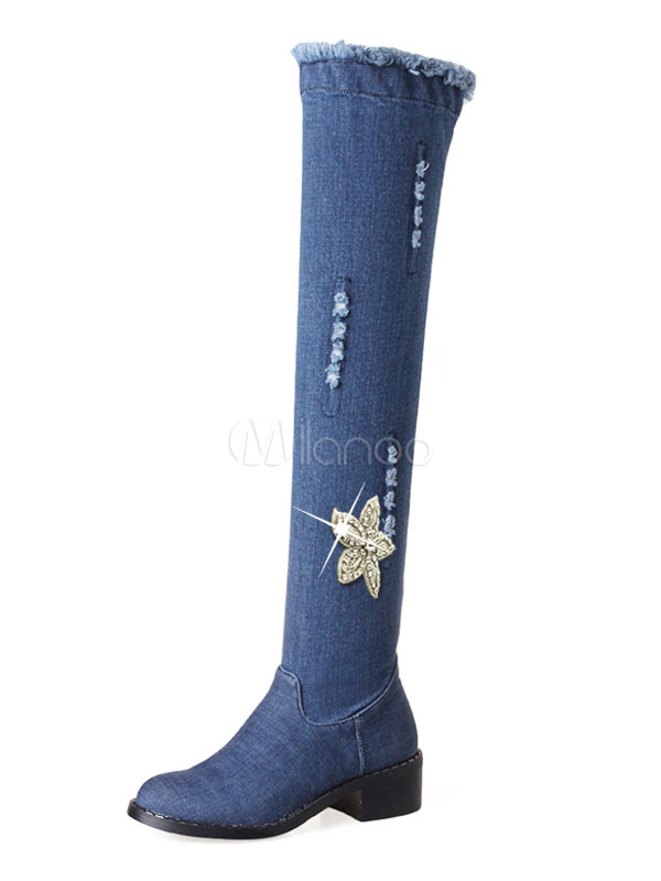 Buy Over The Knee Boots Blue Chunky Heel Round Toe Canvas Rhinestones Cowboy Women's Thigh High Boots for $61.74 in Milanoo store