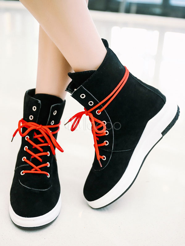 eafe759d424e Black Ankle Boots Round Toe Wedge Heel Suede Lace Up Women s Casual ...
