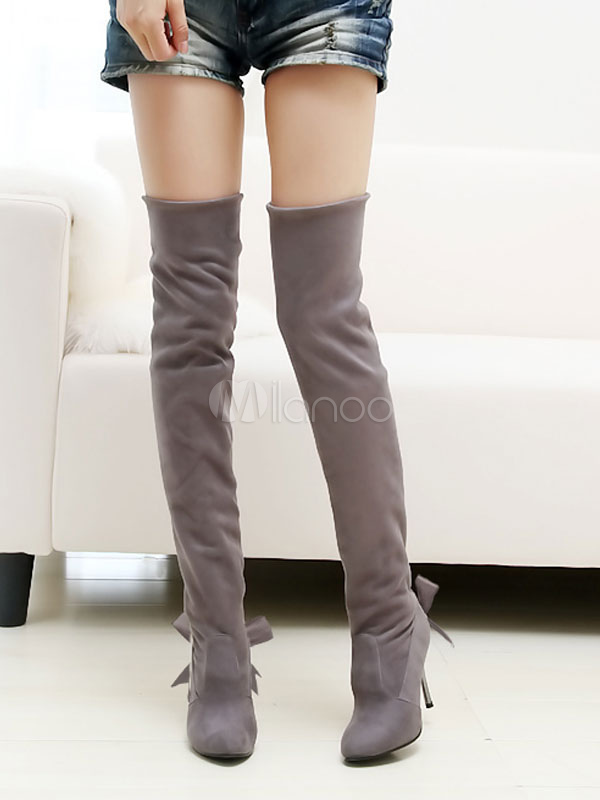 Over The Knee Boots Brown High Heel Round Toe Bows Suede Women's Thigh High Strechy Boots