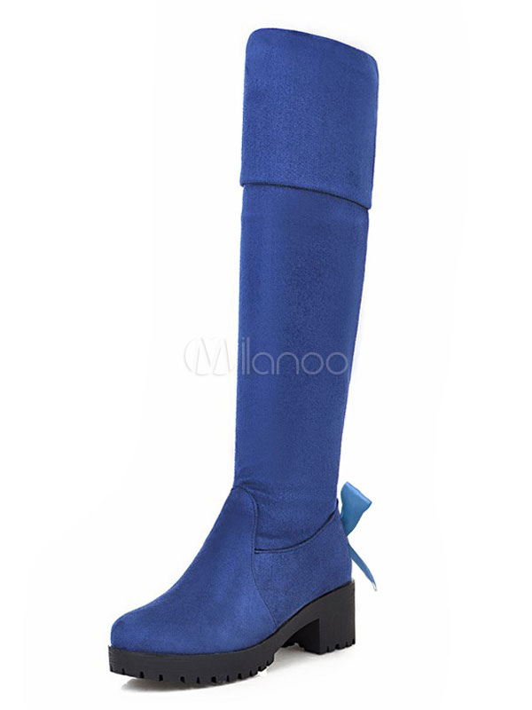 Buy Over The Knee Boots Blue Chunky Heel Round Toe Strechy Thigh High Boots For Women for $40.49 in Milanoo store